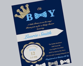 Prince Baby Shower Invitation Royal Blue Silver Baby Shower
