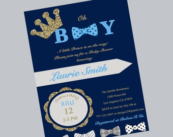 blue prince baby shower invitation, prince crown boy shower, prince crown baby shower invites, gold boy baby shower invites, bow tie invites