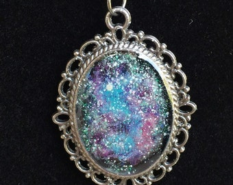 Glow in the dark Galaxy Pendant-Teal, Purple, and Pink