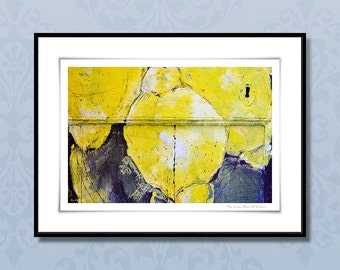 Fine art photography, 24x32 cm framed art print, italian lemon giclee print, abstract botanical art, yellow and blue, wall art, home decor
