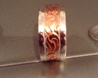Sterling silver and copper band
