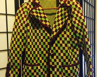 Funky Checkered Cardigan 1960s - Small