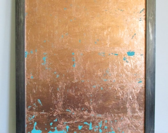 Abstract Painting, Copper Decor, Original Art, Original Painting, Acrylic Painting, 16x20 Canvas Panel, Abstract Art, Copper Leaf Turquoise