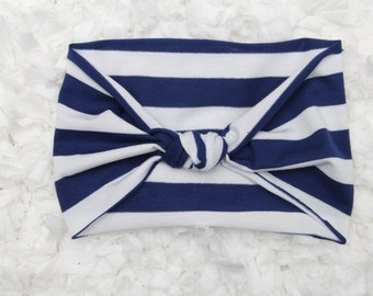 Navy and White Turban