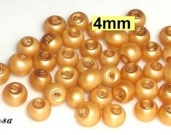 90 glass beads clear Matt 4 mm gold (804.50.1)