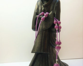 "Necklace purple Pompom ""Ayumi"" with artisanal beads ceramic"