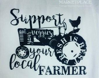 Vintage Tractor Support Your Farmer Chicken Flour Sack Tea Towel