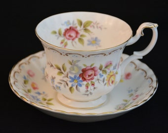 Royal Albert Jubilee Rose Pattern Vintage Cup and Saucer