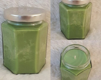 Lemongrass Essential Oil Scented Soy Candle with a Marble look