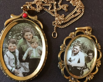 Vintage Picture Frame Lockets with Necklace Charms
