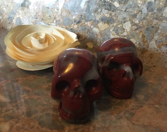 Red Jasper Skull, Reiki Healing Crystal, Halloween
