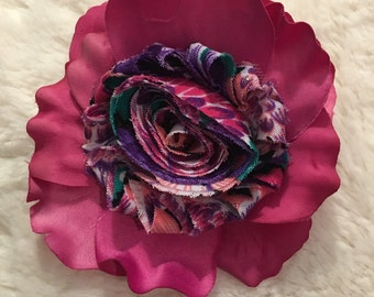 Ladies Pink Petal Silk Flower Duo Hair Clip/ Dress Pin with Multi-Colored Chiffon Center.