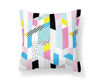 Throw Pillow 80's, Decroative Pillow, Pink Pillow, Black Billow, Pattern Throw Pillow, blue pillow