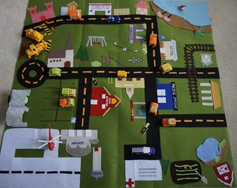 Play Mat-Town/City Fold Up Play Mat/Roll Up Play Mat/Road Play Mat/Car Play Mat/Toy Car Storage/Car Track Quiet Time Mat/Personalizel Gift