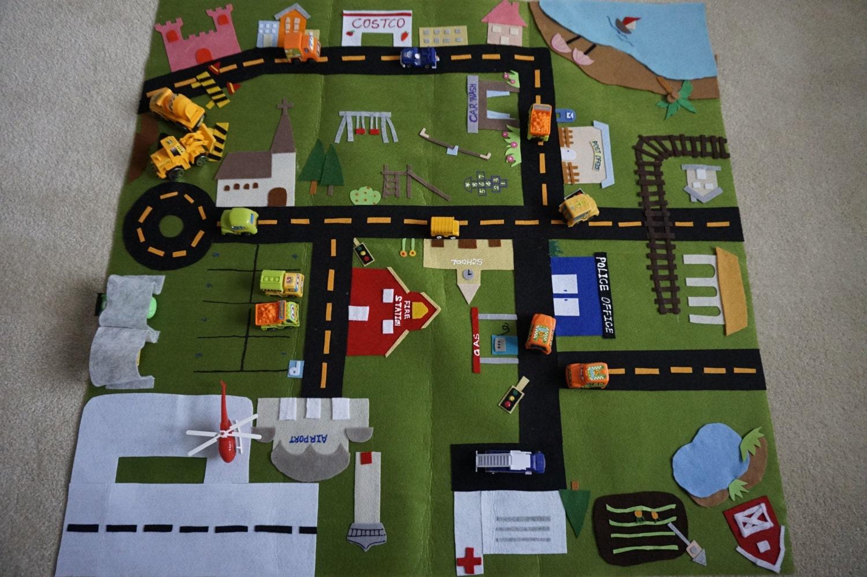 Play Mat Town City Fold Up Play Mat Roll Up Play Mat Road Play