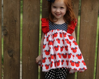 Minnie Mouse Navy Red Polka Dots Clara Ruffle Girls Toddler Top Tunic