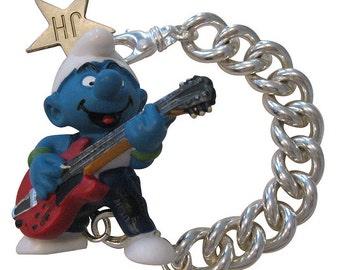 I'M A ROCKSTAR - rockstar smurf solid silver bracelet