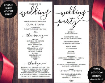 Wedding Program Template, Printable Wedding Program, Wedding Program Printable, Ceremony Printable Template, PDF Instant Download, Editable