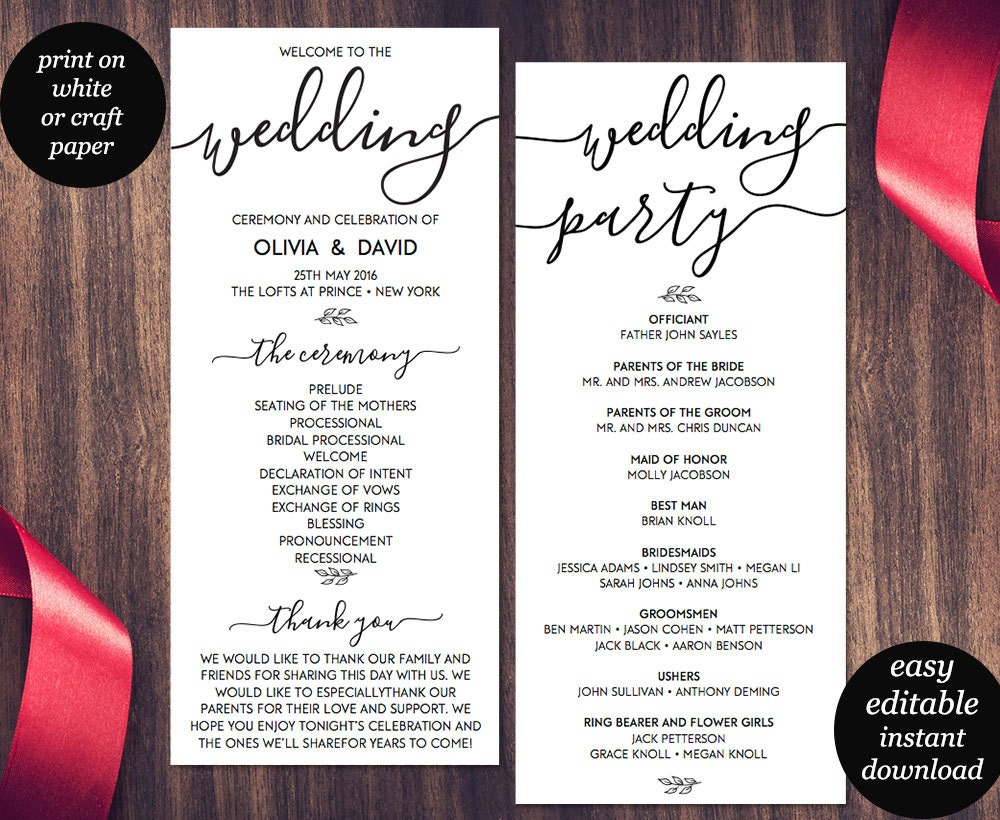 Wedding program template printable wedding program wedding for Programs for wedding ceremony template