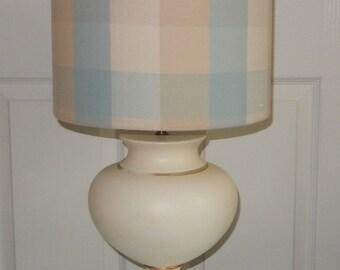 Duck egg lampshade etsy new handmade lampshade laura ashley mitford check duck egg fabric drum 20cm 30cm 40cm aloadofball Images