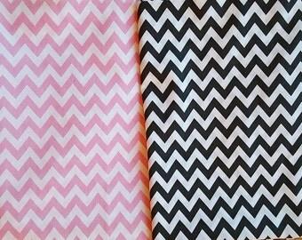 Baby Pink/Dark Grey Chevron Print