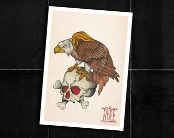 """Traditional """"Eagle & Skull"""" illustration  -  Digital print -  Stampa digitale - Illustrazione traditional"""