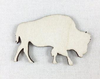 Wood Bison Shape, Unfinished Wood Bison Buffalo Laser Cut Shape, DIY Craft Supply, Many Size Options