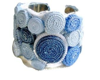 Blue Jean Denim & Blue Cuff Bracelet-Denim Cuff Bracelet - -Jeans Bracelet - Blue Denim Cuff