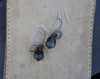smoky glass drop earrings