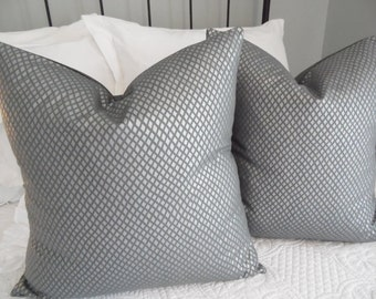 Pillow covers. Pearlized Blue-Gray metallic foil print. dary grey, silver metallic accents.