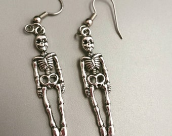 Skeleton earrings, skeleton jewelry, Halloween jewelry, Halloween earrings, fall gifts, Halloween
