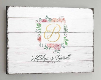 Wedding Guest Book Wood - 100-350 Guests - Gold Wedding Guestbook Rustic Alternative Guestbook Vintage Wedding Guestbook CANVAS - White