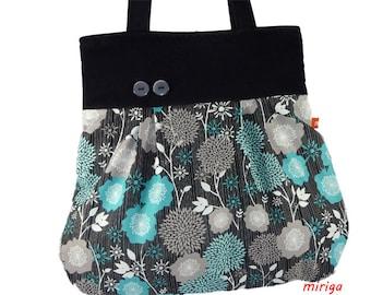 Shoulder bag flower turquoise and black