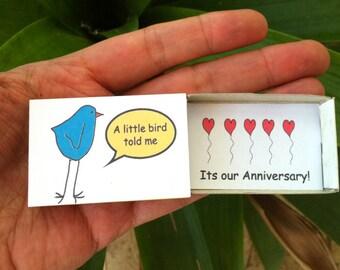 Little Bird, Aniversary Card,  Matchbox, Cute Love Card,  Anniversary Gift,  For Husband,  Wife , boyfriend, girlfriend, Cute Anniversary
