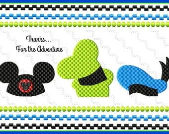 Disney Boys Hats- Mickey, Goofy, and Donald Duck Faux Smocking Digital Embroidery Machine Design File 5x7 6x10