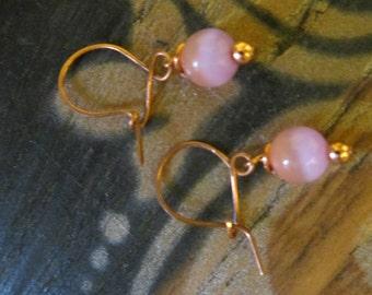 copper/cat eye handmade earrings