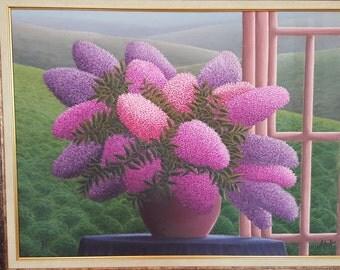 OİLPAİNTİNG ,Lilac, Hyacinthus,flowers, orginal, FREE SHİPS