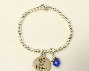 50 and Fabulous Charm on Sterling Silver 4mm Bead Bracelet with Birthstone Charm