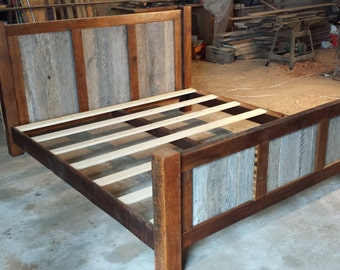 king size bed frame with wood panels on headboard and footboard rustic reclaimed wood barnwood mn