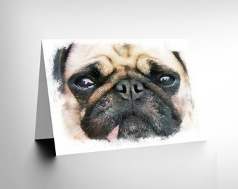 Card Greeting Painting Cute Pug Puppy Dog Face Gift Cl1713
