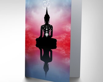 New Zen Buddhist Reflection Clouds Blank Greetings Birthday Card Art CP346