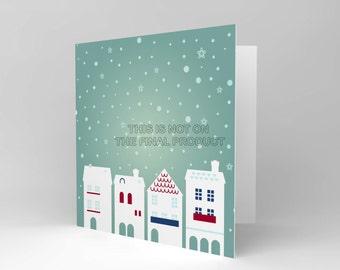 Christmas Card - Snow Houses Winter Blank Greetings Xmas CS310