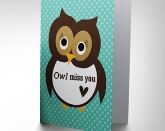 Miss You Card - Cute Owl Friend Cartoon Blank Greetings Card CP1566