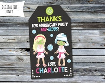Spa Thank You Tags / Party Bag Tags (Personalized) Digital Printable File