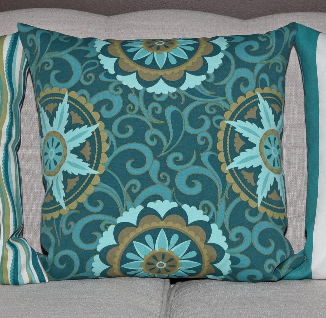 Seafoam Blue Decorative Pillows : Outdoor Decorative Pillow Cover Seafoam Green Blue Olive