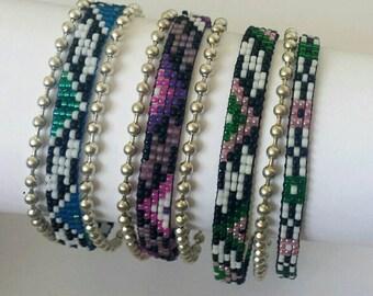 Aztec style beadwoven bracelet with ballchains