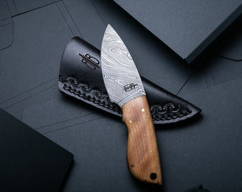 Custom Handmade Fixed Blade Damascus Small Skinner Knife (Olive Wood Handle)