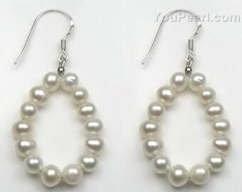 White pearl drop earrings, solid 925 sterling silver pearl earrings, freshwater pearls dangle earrings, genuine pearls hook earring F1900-WE