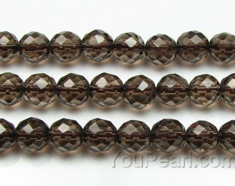 Smoky quartz beads, 10mm round faceted, natural gem bead strand, brown smoky quartz beads, loose quartz beads for necklace making, SQZ1060