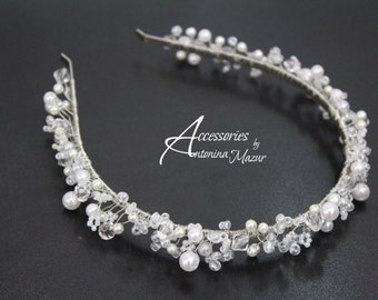 Headband with crystal and pearl beads, wedding headband, crystal headband